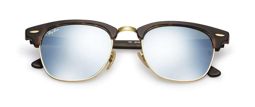ef9a3b154829ea Ray Ban Clubmaster Flash Tortoise Silver Flash Sunglasses