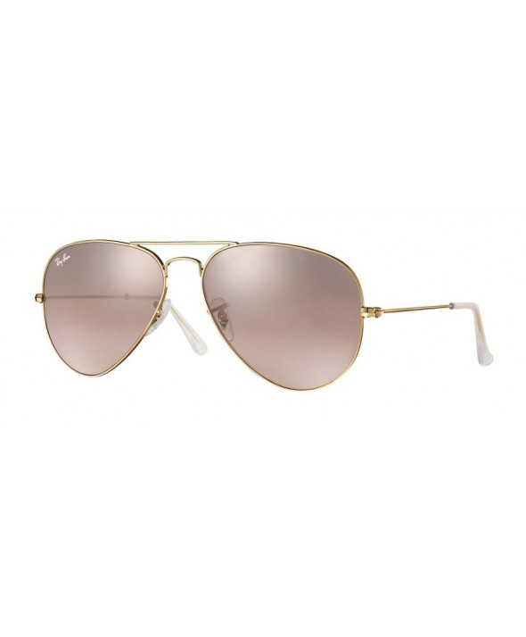 Ray Ban Aviator Gradient Gold, Silver/Pink Mirror Sunglasses