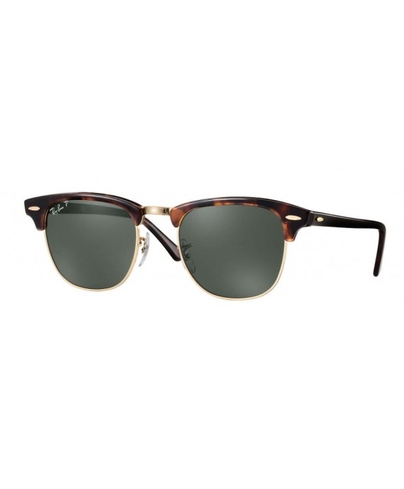 Ray Ban Clubmaster Classic Tortoise Green Classic G-15 Polarized Sunglasses