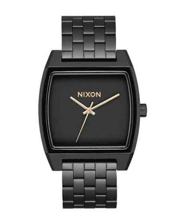 Nixon TIME TRACKER  Matte Black/Gold 37 MM Watch</a>