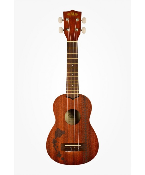 Kala Satin Mahogany Soprano with Hawaiian Islands & Tattoo