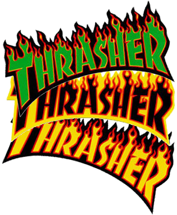 THRASHER FLAME LOGO LG DECAL single asst.colors