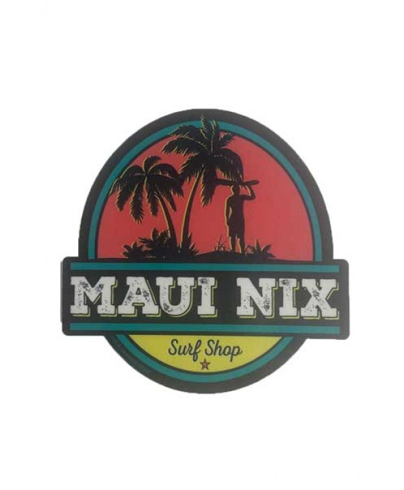 Maui Nix Palm Surfer Sticker