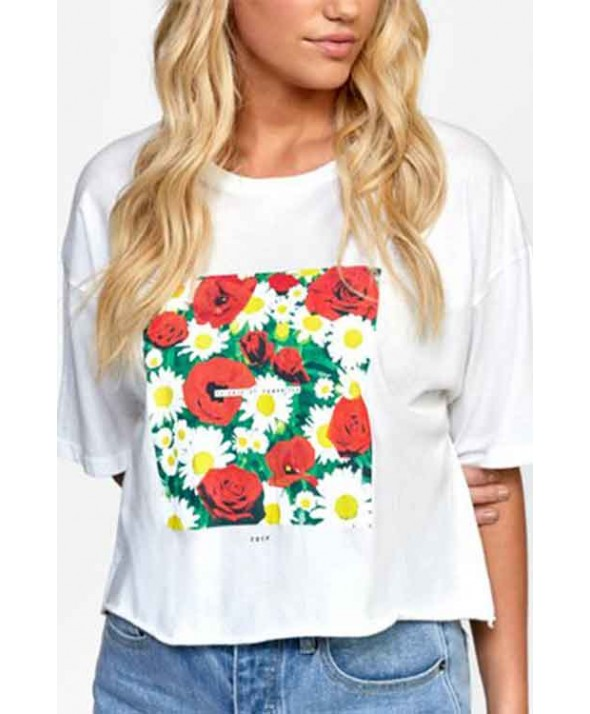 RVCA Women's SUPER BLOOM BOYFRIEND CROP TEE